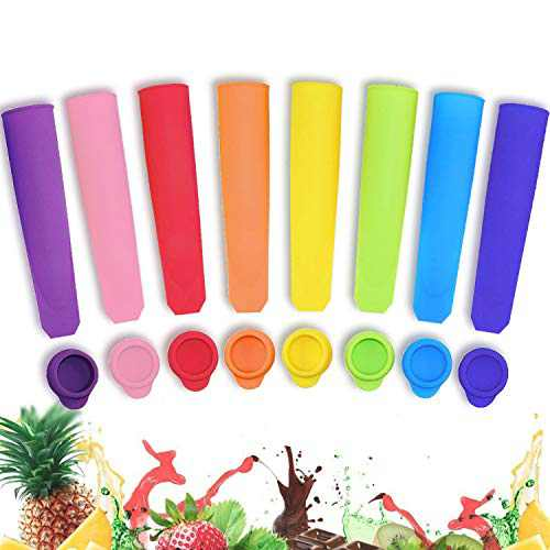 8 Pack Popsicle Molds, Teetookea Silicone Ice Pop Molds with Lids, Multi Colors