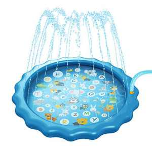 """Imstyle Splash Pad Sprinkle Play Inflatable Mat for Kids, 68"""" Outdoor Wading Pool Thickest Kids Water Toy A to Z for Toddlers Fun Learning Play"""