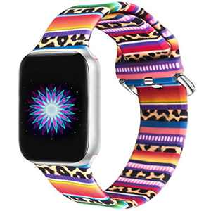 Idealiveny Silicone Band Compatible with Apple Watch Band 38mm 40mm 42mm 44mm Women Sports Strap Rubber Replacement for Iwatch Band Series 6 5 4 3 2 1 Double Side Print (Serape Leopard, 38MM/40MM-S/M)