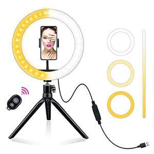 "AOBISI LED Ring Light 10"" with Tripod Stand & Phone Holder for Live Streaming & YouTube Video, Dimmable Desk Make up Ring Light for Photography, Shooting with 3 Light Modes & 10 Brightness Level"