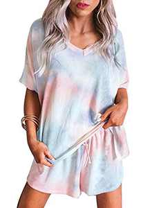 Homrain Women's Summer Tie Dye Printed Pajama Set Cut Short Sleeve 2 Piece PJ Sets Blue-Orange M