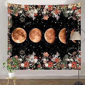 """pinata Moon Phase Tapestry for Wall Hanging, Moonlit Garden Tapestry, Black Tapestry, Vine and Flowers Wall Decor for Room (51.2"""" X 59.1"""")"""