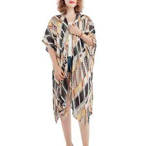 Alona Swimsuit Cover Up for Women Beach Kimono Cardigan with Bohemian Floral Print