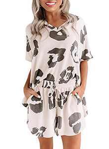 Homrain Women's Summer Tie Dye Printed Pajama Set Cut Short Sleeve 2 Piece PJ Sets White-Black Dot S