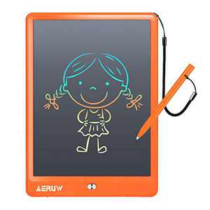 LCD Writing Tablet Colorful 10 Inch Electronic Graphics Doodle Board eWriter Drawing Pad with Memory Lock Gift for Kids & Adults Home School Office Handwriting Tablet (Orange)