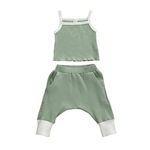 Toddler Baby Girl Ribbed Knitted Halter Strap Tank Top Long Pants Outfit 2PCS Fall Summer Knit Clothes Set (12-18M, A-Green)