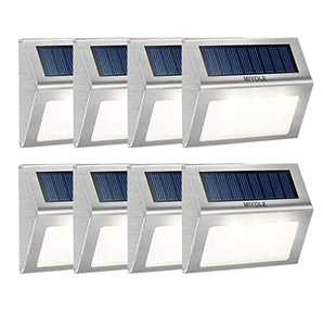 Solar Step Lights Outdoor Waterproof Led, Solar Powered Deck Lights, Stair Lights Outdoor, Stainless Steel, Wireless Dusk to Dawn Solar Light, Wall Lights Outdoor for Fence, 3 LED Cold White 4-Pack