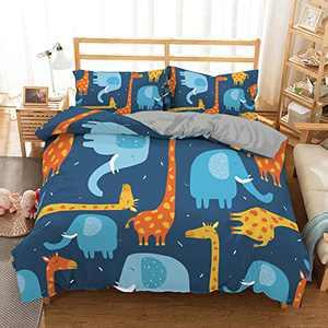 ZEIMON Boy Girl Cat Dinosaur Bedding Set Unisex Duvet Cover Set Twin Full 6D Printed Modern Lightweight Kids Bedding Set for Teens, NO Comforter Included(Elephant,Twin)