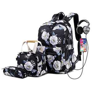 Lmeison Floral Backpack for Women Teen Girls, Charging College Bookbag with Lunch Bag&Pencil Case, Lightweight Travel Daypack for Work, 14inch Laptop Bag for School, Black