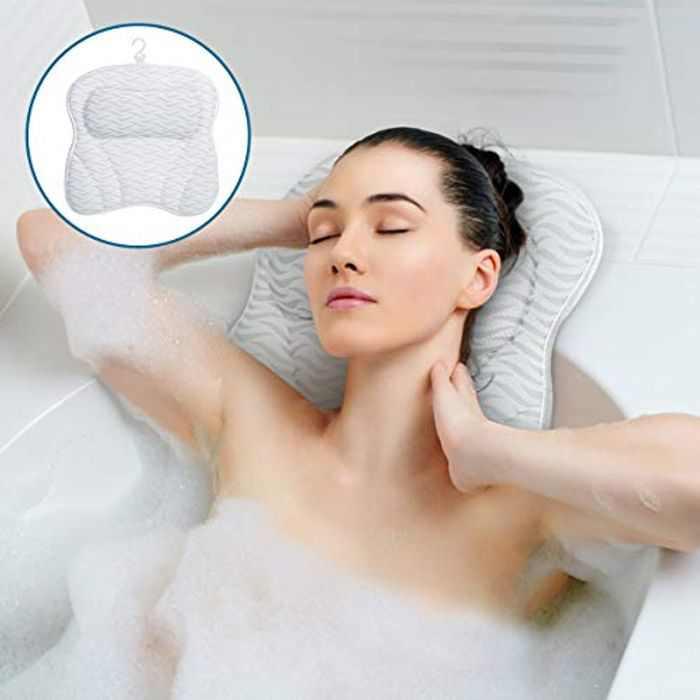 SAWAKE Bath Pillow, Bathtub Cushion Mattress with 7 Non-Slip Suction Cups 3D Air Mesh Bath Pillow Mat for Head Neck Shoulder Support Fits All Bathtub-Machine Washable-Quick Drying for Home Spa