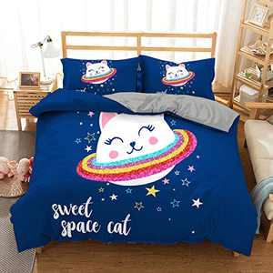 ZEIMON Boy Girl Cat Dinosaur Bedding Set Unisex Duvet Cover Set Twin Full 4D Printed Modern Lightweight Kids Bedding Set for Teens, NO Comforter Included(Cat,Full)
