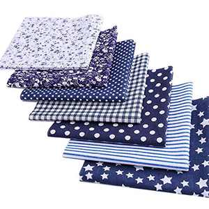 MQOUNY Cotton Craft Fabric Bundle Patchwork,7pcs 20-inch Quilting Sewing Patchwork Fabric Fat Quarter Bundles Fabric for Scrapbooking Cloth Sewing DIY Crafts Pillows (Navy Blue Series)