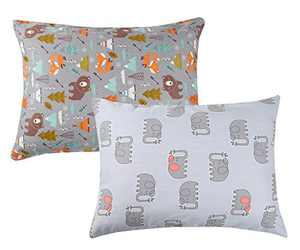 Elephant Toddler Pillowcase Zippered Set 2 Pack 100% Cotton Fits 14x19 and 13x18 Toddler Pillows for Boy Girl and Grey Bear by Knlpruhk