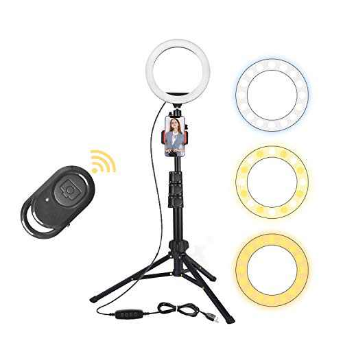 """Ring Lights with Stand and Phone Holder, 8"""" Selfie Ring Light for Live Stream, Makeup, Photography, Vlogging, Video, Dimmable LED Ring Light Compatible with Phones and Cameras iPhone Android"""