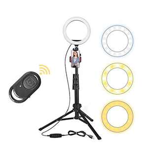 "Ring Lights with Stand and Phone Holder, 8"" Selfie Ring Light for Live Stream, Makeup, Photography, Vlogging, Video, Dimmable LED Ring Light Compatible with Phones and Cameras iPhone Android"