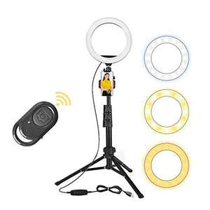 """Gingprous 10"""" Ring Lights with Tripod Stand and Cell Phone Holder, Selfie Ring Light for Live Stream, Makeup, Vlogging, Photography, Dimmable LED Ring Light for Phones iPhone Android"""