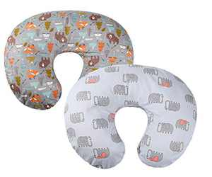 Grey Nursing Pillow Cover Set 2 Pack 100% Cotton Slipcovers for Breastfeeding Moms Baby Girl Boy Fits On Infant Nursing Pillow Elephant and Bear by Knlpruhk
