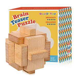 Once ZY Time Wooden Puzzles Jigsaw Puzzle Brain Teaser Puzzles 3D Assembly Toys Educational Toy for Kids Stress Reliever Games(Sky Lock)