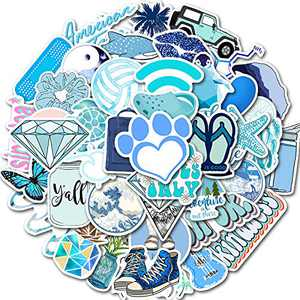 50PCS Cute Stickers for Adults, Kids, Teens, Vinyl Waterproof Blue Aesthetic Stickers for Hydro Flask, Water Bottle, Laptop, MacBook, PC, Smartphone, Skateboard, Luggage, Car, Guitar