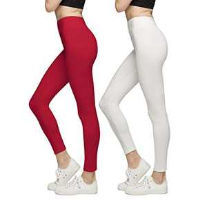 BROOKLYN + JAX Women Super Soft High Waisted Leggings - Solid Assorted Colors - 2 Pack White, Red
