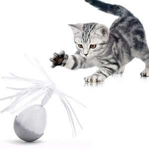 Toby + Atheni Interactive Cat Toy - Cat Toys for Indoor Cats - Automatic Cat Toy with Realistic Motion with Attached Spinning Furball Cat Toy and Tassel Cat Toy