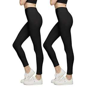 BROOKLYN + JAX Women Super Soft High Waisted Leggings - Solid Assorted Colors - 2 Pack Black