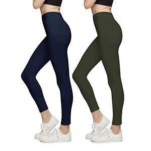 BROOKLYN + JAX Women Super Soft High Waisted Leggings - Solid Assorted Colors - 2 Pack