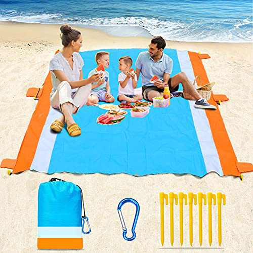 """Naohiro 2021 Upgraded Sand Free Beach Blanket, 79"""" X 82"""" for 4-7 Persons Beach Mat.Outdoor Picnic Mat for Travel, Camping, Hiking and Music Festivals Quick Drying Heat Resistant(Blue-Orange)"""