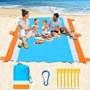 """Naohiro Sand Free Beach Blanket,Extra Large 79"""" X 82"""" for 4-7 Persons Beach Mat.Outdoor Picnic Mat for Travel, Camping, Hiking and Music Festivals-Lightweight Quick Drying Heat Resistant(Blue-Orange)"""
