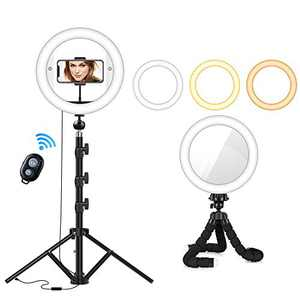 """Ring Light 10.2"""", LED Ring Light with Tripod Stand 53"""", Selfie Ring Light with Makeup Mirror, Phone Holder for Live Stream/Makeup/YouTube Video/Photography, Compatible with iOS/Android Phones"""