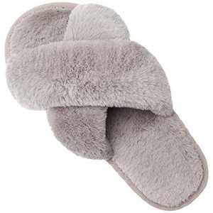 Fires Womens Furry Faux Fur Slippers Cozy Memory Foam House Slippers Slip on Coffee 6.5-7.5 M