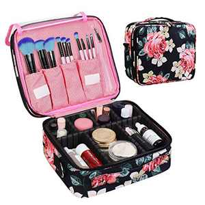 CREATIVE DESIGN Large Makeup Bag, 3 Layers Travel Makeup Organizer Cosmetic Bag Portable Train Cosmetic Case for Make up Accessories Digital Accessories