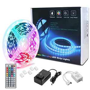 RGB LED Strip Lights, 16.4ft Waterproof RGB LED Color Strip, with 44-Key Infrared Remote Control and 12V Power Supply, Suitable for Home,TV, Bedroom, Kitchen