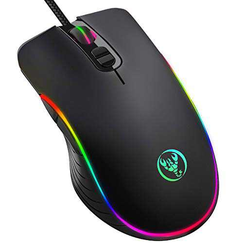 Gaming Mouse Wired, KKUYI 6400DPI Wired Backlit Mice Ergonomic Laptop PC Gaming Mouse with Breathing Light, Programmable USB Computer Mice for Windows PC Gamers