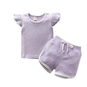 Gifunes 3PCS Toddler Girl Outfits Ruffle Sleeve Romper Top + Floral Short Pants + Floral Headband Baby Summer Clothes Set (Purple, 2-3T)