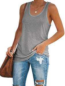 Inorin Womens Workout Tank Tops Racerback Casual Sport Summer Sleeveless T Shirts (Z-Grey, Small)