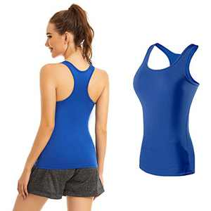 Racerback Tank Tops for Women Workout Yoga Camisole Scoop Neck Trim Assorted Colors 1/2/3 Pack Blue