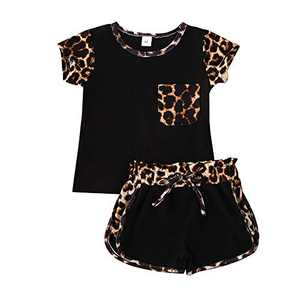 Gifunes 3PCS Toddler Girl Outfits Ruffle Sleeve Romper Top + Floral Short Pants + Floral Headband Baby Summer Clothes Set (Leopard-Black, 4-5T)
