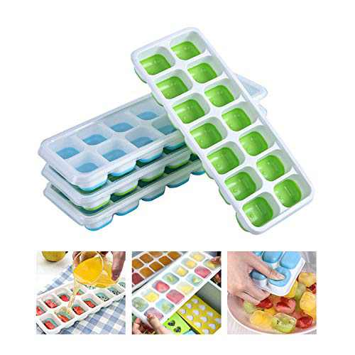 Ice Cube Trays Silicone with Lids 4 Pack,Square Ice Mold 14-Ice Tray for Whiskey Cocktails Flexible and BPA Free with Spill-Resistant Removable Lid