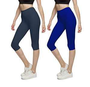 BROOKLYN + JAX Women Super Soft High Waisted Capri Leggings - Assorted Solid Colors - 2 Pack