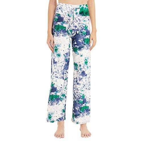 HIGHDAYS Women's Buttery Soft Lounge Pants - Floral Print Drawstring Wide Leg Pajama Sky Blue