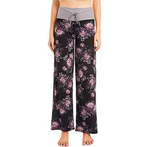 HIGHDAYS Women's Buttery Soft Lounge Pants - Floral Print Drawstring Wide Leg Pajama