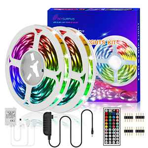 REYSURPIUS Led Strip Lights 32.8ft(300 LEDs),RGB Light Strips Kit with 44Keys IR Remote Controller,(2 roll 16.4ft) Double-sided copper plate 5050RGB color changing light strip for Bedroom, Living Room