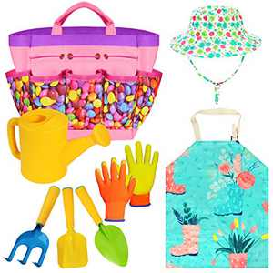 Gardening Tools Toy Set for Girls Boys with Beatiful Storage Bag, Watering Can, Gardening Gloves, Shovels, rake, Apron, Sun Hat kit for Children Kids Outdoor Play and Dress up Clothes Role Play