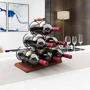 BENOSS Countertop Wine Bottle Rack, Hold 6 Bottles, 3-Tier Tabletop Wine Holder with Sturdy Handle, Simple Assembly, Perfect for Home Decoration & Kitchen Storage, Wood & Metal