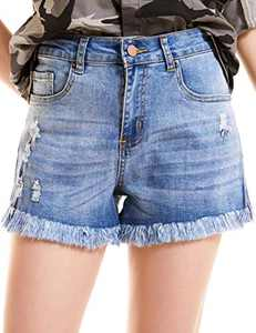 lianger Denim Jean Shorts for Women High Waist Slim Fit Frayed Raw Tassel Hem Classic Summer Ripped Cutoff Shorts Plus Size Lightblue-S