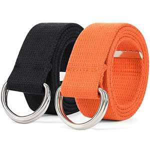 Canvas Web Belts for Women and Men Casual Cloth Belt with Metal Double D-Ring Buckle 2 Pack Black and Orange, Size S