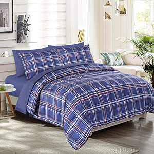 EMME Comforter Set King Size (90''x102'') 3-Piece Down Alternative Bedding Duvet Insert All Season Ultra Soft and Comfortable of Microfiber Filling (Blue Plaid)