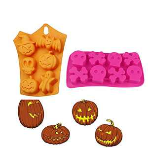 2 Pcs Halloween Silicone Baking Molds ,6-Cavity Silicone Bat Pumpkin Face Skull Ghost Jelly Chocolate Mould,8-Cavity Skull Crossbones Ice Cube Trays,Candy Bread Soap Muffin Pumpkin Fondant Mold