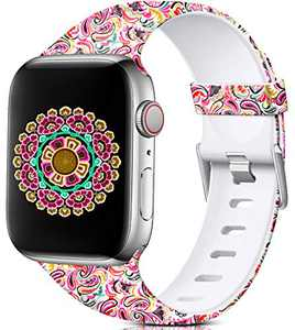 Nofeda Floral Bands Compatible with Apple Watch 40mm 38mm for Women Men, Soft Fadeless Pattern Printed Sport Band Replacement for iWatch Series 5,4,3,2,1, M/L, Paisley Pattern